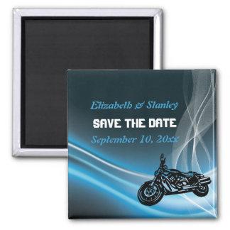 Reserva azul del boda del motorista del camino el imán cuadrado