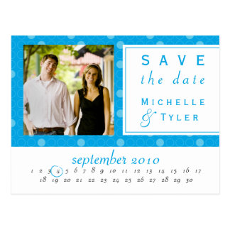 Reserva azul del círculo la tarjeta de fecha tarjeta postal
