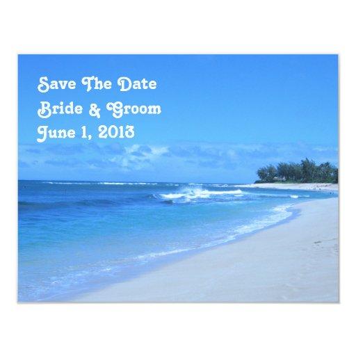 """Reserva azul del océano la tarjeta de fecha invitación 4.25"""" x 5.5"""""""