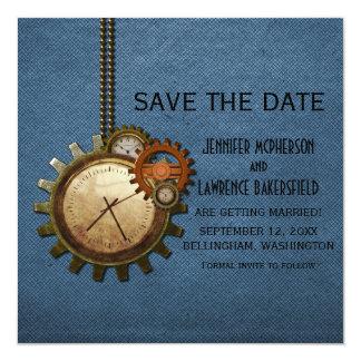Reserva azul del reloj del vintage que la fecha invitación personalizada