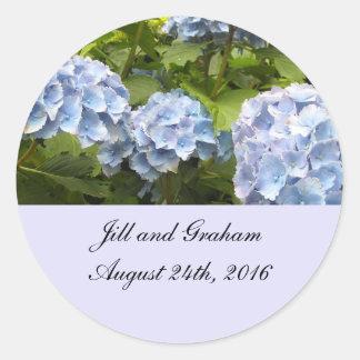 Reserva azul elegante del Hydrangea la fecha Pegatina Redonda