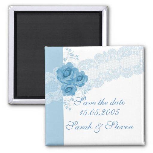 Reserva azul elegante del rosa del cordón de lujo  imanes de nevera