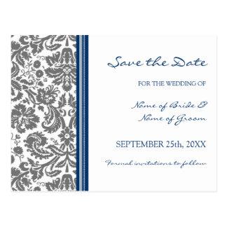 Reserva azul gris del damasco la postal del boda d