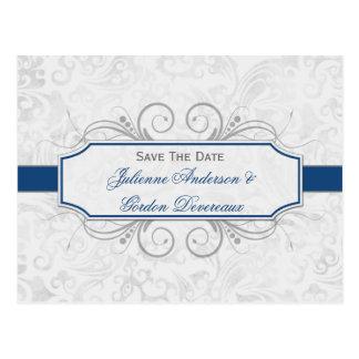 Reserva azul marino y gris del damasco la fecha tarjetas postales