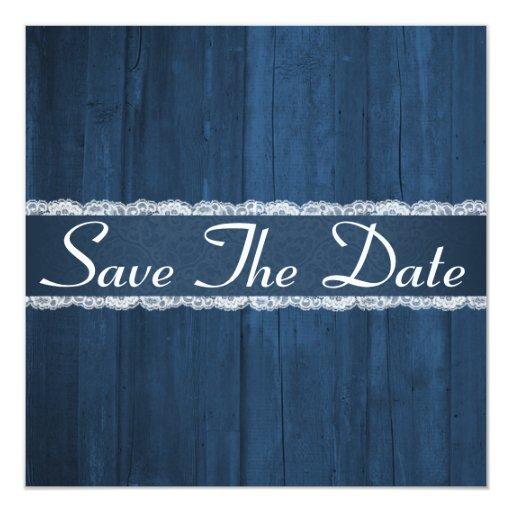 Reserva azul rústica elegante lamentable de madera anuncio personalizado