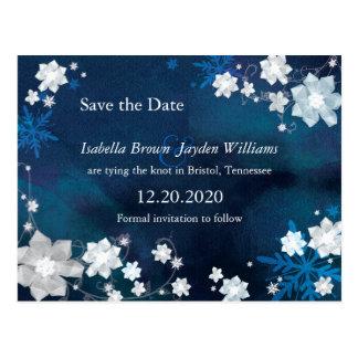 Reserva azul y blanca del invierno del brillo la p tarjeta postal