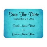 Reserva azul y negra del boda la fecha imanes rectangulares