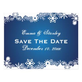 Reserva blanca azul del boda del invierno del copo postales