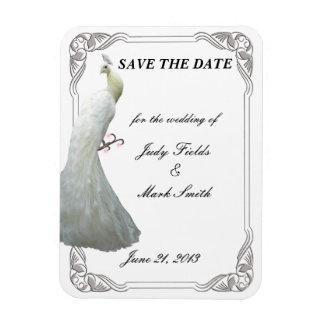 Reserva blanca de encargo del boda del pavo real imán