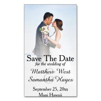 Reserva blanca del boda de la foto de la niebla de tarjetas de visita magnéticas (paquete de 25)
