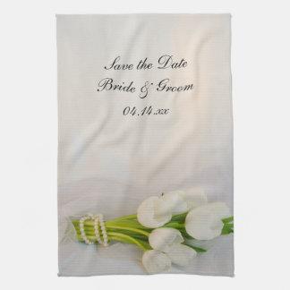 Reserva blanca del boda del ramo del tulipán la fe toallas