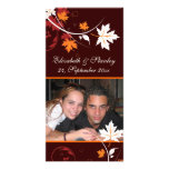 Reserva blanca del boda del rojo anaranjado de las tarjeta personal con foto