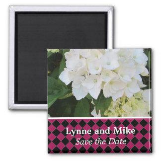 Reserva blanca del Hydrangea la fecha Imán Cuadrado