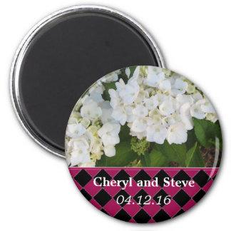 Reserva blanca del Hydrangea la fecha Imán Redondo 5 Cm