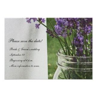 Reserva blanca del pórtico de la lavanda del tarro invitaciones personales