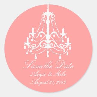 Reserva blanca elegante de la lámpara el boda de etiquetas redondas