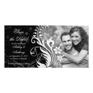 Reserva blanca negra floral del boda del vintage tarjeta fotográfica personalizada