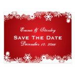 Reserva blanca roja del boda del invierno del copo tarjeta postal