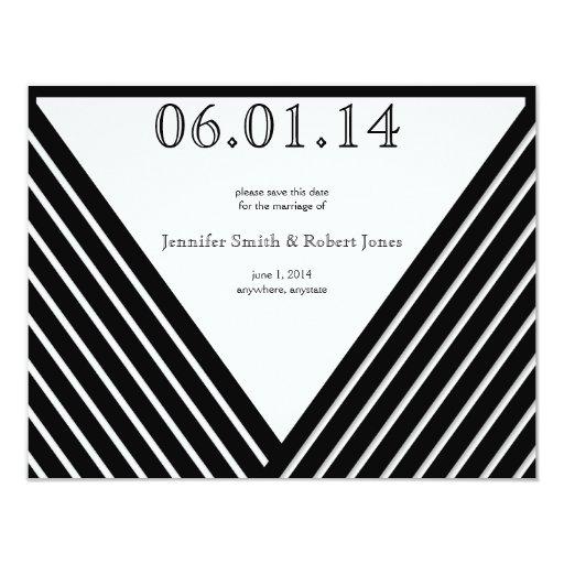 Reserva blanco y negro de la raya del art déco la invitación 10,8 x 13,9 cm