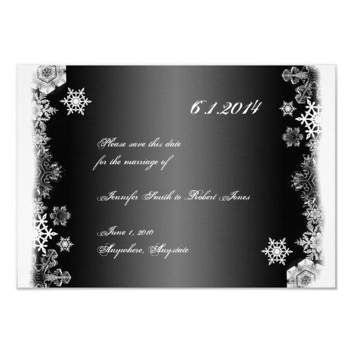Reserva blanco y negro del boda del copo de nieve invitación 8,9 x 12,7 cm