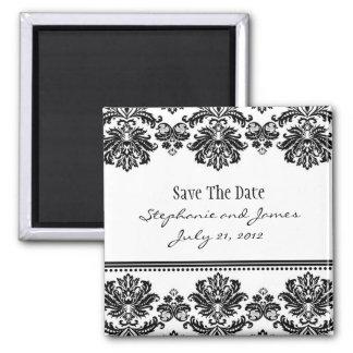 Reserva blanco y negro del damasco la fecha imán cuadrado