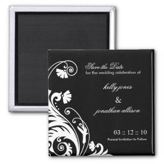 Reserva blanco y negro el imán del boda de la fech