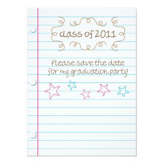 """Reserva bosquejada de la fiesta de graduación de invitación 5.5"""" x 7.5"""""""
