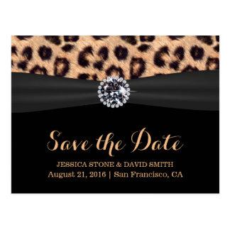 Reserva brillante elegante del boda del leopardo tarjeta postal