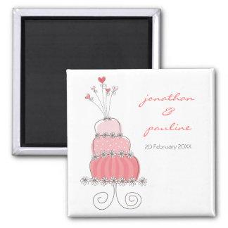 Reserva caprichosa del pastel de bodas rosado imán cuadrado