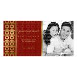 Reserva china del rojo de la felicidad del doble d tarjeta fotografica personalizada