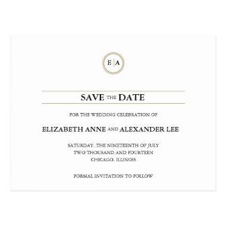 Reserva clásica del oro de los monogramas la fecha tarjeta postal