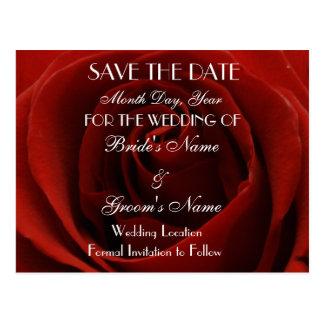 Reserva clásica del rosa rojo la postal del boda