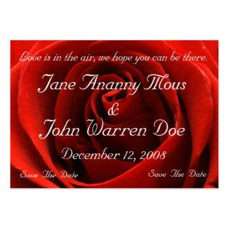 Reserva clásica del rosa rojo la tarjeta de fecha tarjetas de visita