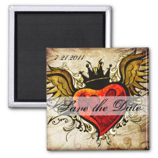 Reserva coa alas tatuaje del corazón del vintage imán cuadrado