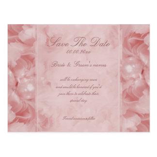 Reserva color de rosa de la perla las invitaciones postal