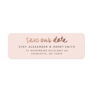 Reserva color de rosa del oro el | la etiqueta del etiquetas de remite