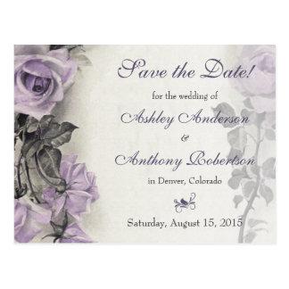 Reserva color de rosa púrpura del boda de la plata postal