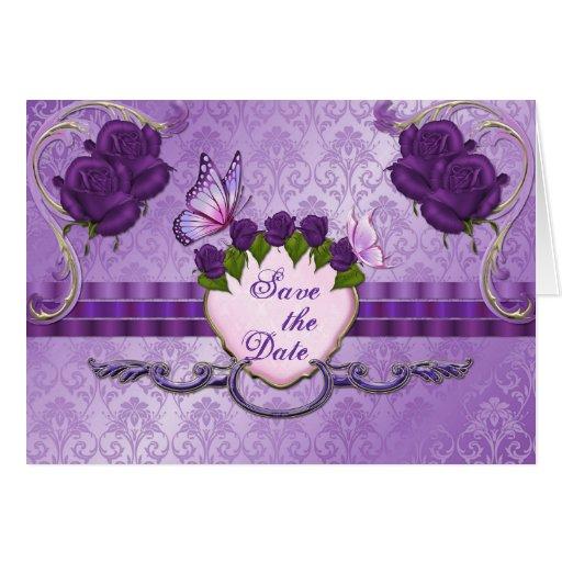 Reserva color de rosa púrpura del boda del damasco tarjetón