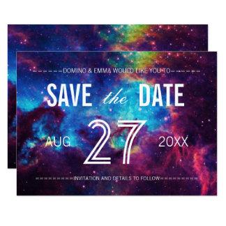 """Reserva colorida de la galaxia la fecha invitación 3.5"""" x 5"""""""