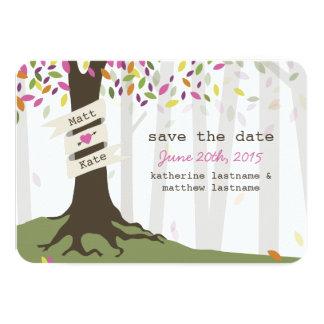 Reserva colorida del boda del arbolado la fecha invitación 8,9 x 12,7 cm