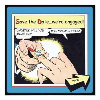 """Reserva cómica del anillo de Bling del estilo el Invitación 5.25"""" X 5.25"""""""