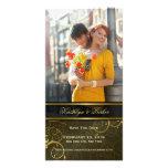 Reserva con clase de las vides espirales de oro tarjeta fotografica personalizada