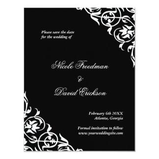 """Reserva con clase del boda de la voluta del invitación 4.25"""" x 5.5"""""""