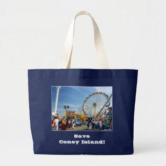 """""""Reserva Coney Island!"""" Tote de la lona de Astrola Bolsa De Tela Grande"""