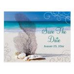 Reserva coralina de la playa la invitación de boda postales