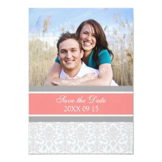 Reserva coralina del boda de la foto del damasco invitación 12,7 x 17,8 cm