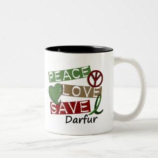 RESERVA Darfur del AMOR de la PAZ Taza Dos Tonos