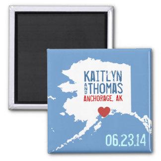 Reserva de Alaska la fecha - ciudad adaptable Imán Cuadrado