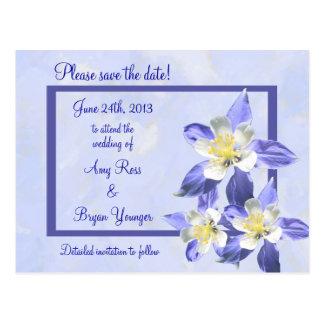 Reserva de Columbine azul la postal del boda de la