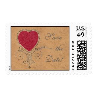 RESERVA de cuero y afiligranada del corazón los Sellos Postales
